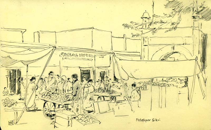 Indian Marketplace Drawing Michael Kluckne...